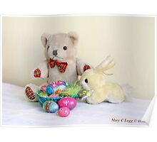 Yellow Easter Bunny brings Erasmus Bear Easter Eggs Poster