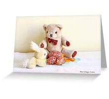 Erasmus Bear and the yellow Easter Bunny Greeting Card