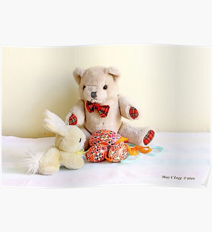 Erasmus Bear and the yellow Easter Bunny Poster