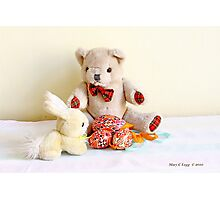 Erasmus Bear and the yellow Easter Bunny Photographic Print