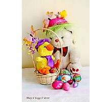 Fatso Bear and  Crazy Chickie  with an Easter basket Photographic Print
