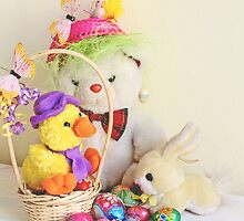 Fatso Bear,  Crazy Chickie and yellow Easter Bunny  with an Easter basket by pogomcl