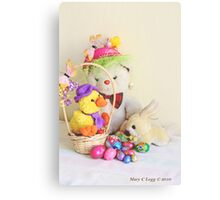 Fatso Bear,  Crazy Chickie and yellow Easter Bunny  with an Easter basket Canvas Print