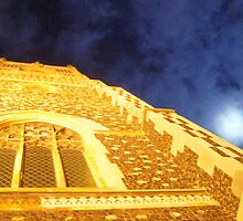 Church Tower In Full Moon by Chris Barber