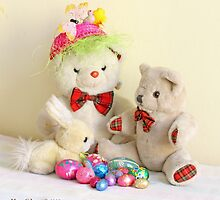 Yellow Easter Bunny, Fatso and Erasmus Bear  with Easter eggs by pogomcl