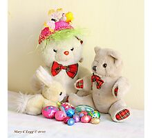 Yellow Easter Bunny, Fatso and Erasmus Bear  with Easter eggs Photographic Print