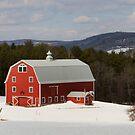 Bright Red Barn in Winter by Mark Van Scyoc