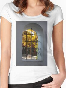 Autumn Through the Fence Window Women's Fitted Scoop T-Shirt