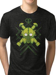 Tribal combat green gasmask Tri-blend T-Shirt