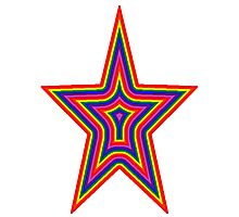Psychedelic Rainbow Star Photographic Print