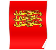 Royal Banner of England, England, Three Lions, 3 Lions, English, British, Britain, UK, RED Poster