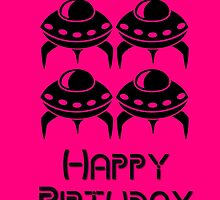 Space Invaders Happy Birthday Greeting Card by Chillee Wilson by ChilleeWilson