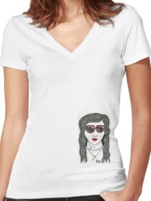 Red Shades Women's Fitted V-Neck T-Shirt