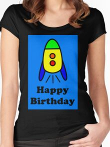 Cartoon Rocket Ship Happy Birthday Greeting Card by Chillee Wilson Women's Fitted Scoop T-Shirt