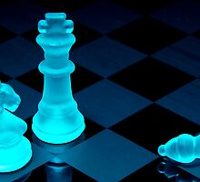 Chess pieces in blue light - Print by Mark Podger