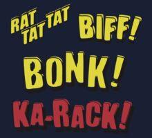 Cartoon RAT TAT TAT, BIFF! BONK! KA-RACK! by Chillee Wilson Kids Clothes