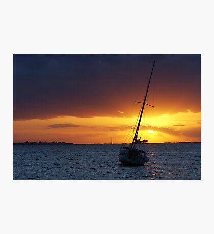 SAILBOAT DOCKED IN HARBOR AT SUNSET Photographic Print