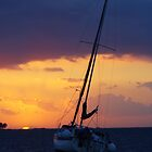 SAILBOAT DOCKED IN HARBOR AT SUNSET by Wayne Hughes