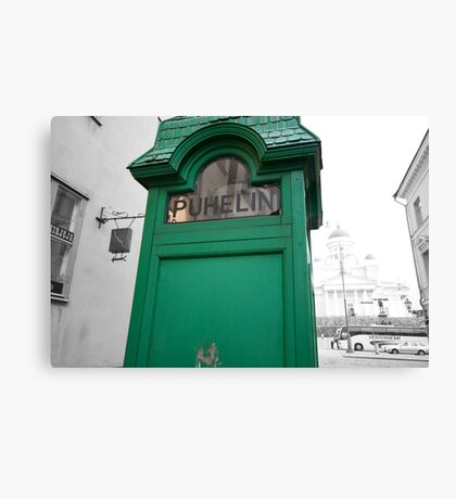 Green Phone Booth Canvas Print