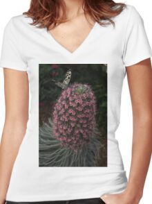 Millions of Tiny Flowers Plus a Butterfly Women's Fitted V-Neck T-Shirt