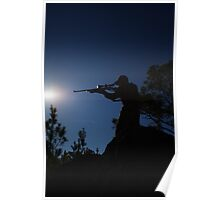 HUNTER STANDING ON ROCKY CLIFF Poster