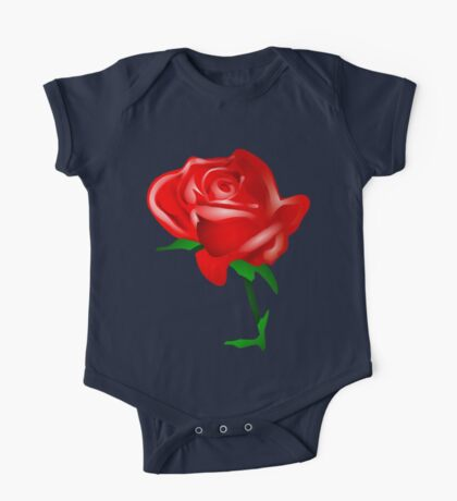 Red watercolor rose One Piece - Short Sleeve
