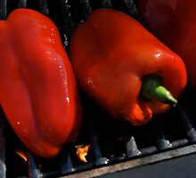 Roasting red peppers by Jeff Stroud