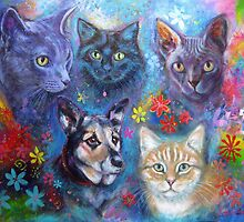 Five friends - portrait commission  by Karin Zeller