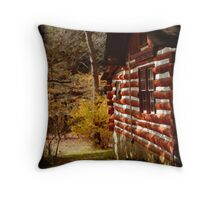 Red Log Cabin  Throw Pillow