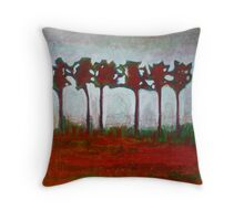 Morning light on a winter forest, mixed media on canvas Throw Pillow