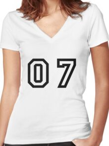 Number Seven Women's Fitted V-Neck T-Shirt