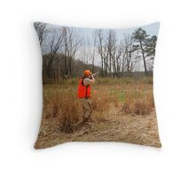 HUNTER FIRES AT A COVEY OF QUAIL  Throw Pillow