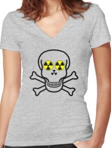 NUCLEAR FALL-OUT SKULL & CROSSBONES by Chillee Wilson Women's Fitted V-Neck T-Shirt