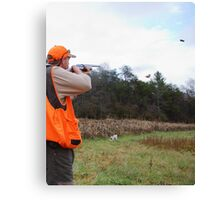 UPLAND BIRD HUNTER FIRES AT PHEASANT   Canvas Print