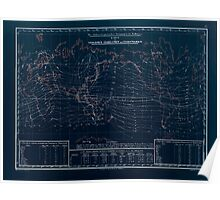 Atlas zu Alex V Humbolt's Cosmos 1851 0152 Electro Magnetic World Map Inverted Poster