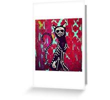 Red Skeleton Cat Greeting Card