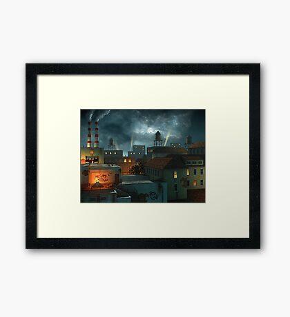 Zone Industrielle - Night Framed Print