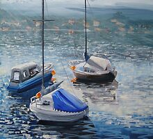 Boats on the bay - Morning at Gymea Bay by Tash  Luedi Art