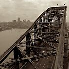 Sydney Harbour Bridge, Arial View (Sepia) by iami