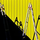 Ladder show on the bright yellow wall! by Fineli