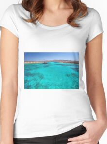 Blue lagoon in Antiparos islands, Greece Women's Fitted Scoop T-Shirt