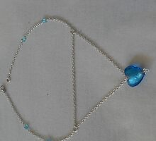 Blue Heart Silver Chain Necklace 1 by sylversorceress