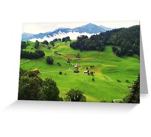 Sun on the Swiss Green Valley  Greeting Card