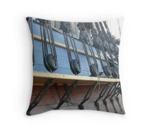 Rigging on the 'Endeavour' Tall Ship Replica. Throw Pillow