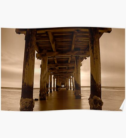 Dusk Under Seaford Pier in Sepia Poster