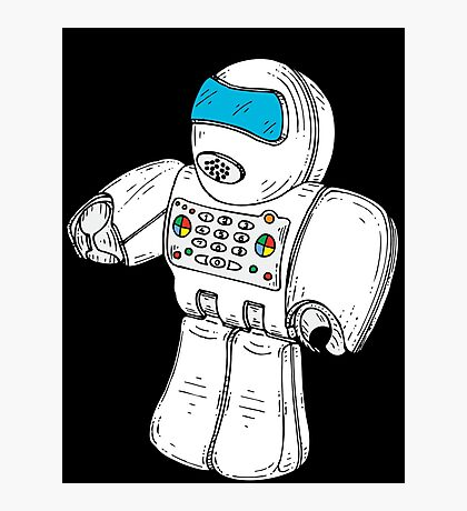 Retro Robot Minifigure by Chillee Wilson Photographic Print