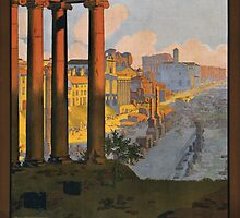 Rome Vintage Travel Poster Restored by Carsten Reisinger