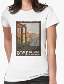 Rome Vintage Travel Poster Restored Womens Fitted T-Shirt