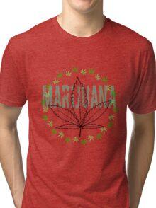 X-Rays. Cannabis Leaf and word Marijuana Tri-blend T-Shirt