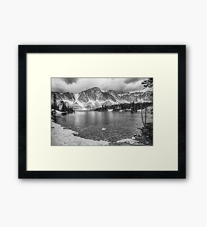 Medicine Bow Lake View in Black and White Framed Print